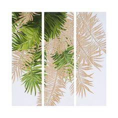 Tableau triptyque bois paulownia peinture feuillages verts et blancs