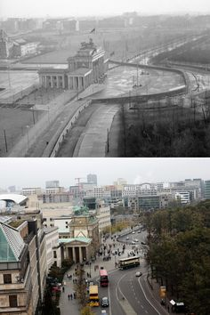 Berlin Wall: Then and Now Berlin Wall around Brandenburg Gate in November, 1961, and (below) traffic at the same area in October, 2014. -