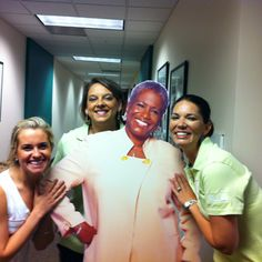 Danielle, Holli, and Misti hanging with Monica's twin  #@wsbtv and #@wsbhappenings