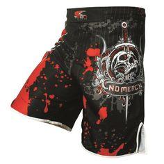MUAY Thai Kickboxing MMA Pantaloncini formazione BAULI BOXE ARTI MARZIALI NERO ROSSO