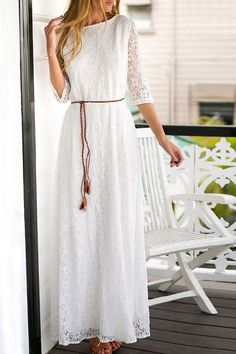 Romantic Hollow Out Solid Color 3/4 Sleeve Maxi Dress For Women
