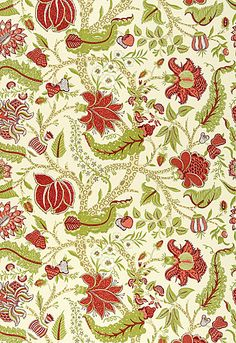 Schumacher Fabric Christmas Colors | 173542 Jaipur Tree in Eggshell | Estate of Design