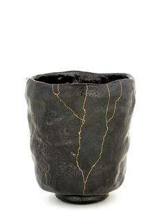 """Kintsukuroi - """"to repair with gold"""" ; the Japanese art of repairing pottery with gold or silver lacquer and understanding that the piece is more beautiful for having been broken."""