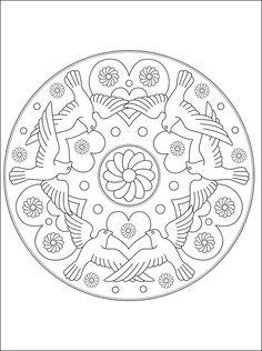 Mandala birds coloring page Heart Coloring Pages, Christmas Coloring Pages, Colouring Pages, Adult Coloring Pages, Coloring Books, Mandala Pattern, Mandala Design, Peace Crafts, Christmas Mandala