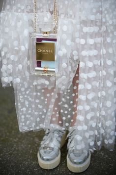 Futuristic platform shoes and see-thru Chanel - Paris Fashion Week #StreetStyle Accessories Fall 2014