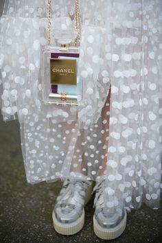 Futuristic platform shoes and see-thru Chanel  - Paris Fashion Week #StreetStyle Accessories Fall 2014