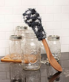 This Scrubby conveniently fits onto the handle of a wooden spoon making quick work of cleaning into jars and smaller containers. After using, you can remove it from the spoon, put it in the washing machine and have a fresh and clean Scrubby.