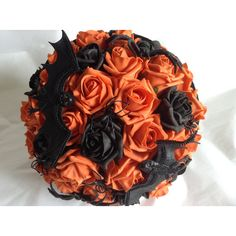 Wedding Bouquet, Halloween Bouquet, October Wedding, Spooky Bouquet,... ($50) ❤ liked on Polyvore featuring home, home decor, holiday decorations, flower stem, autumn home decor, orange home decor, fall home decor and orange home accessories