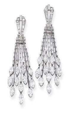 Art Deco Diamond Ear Pendants, by Ostertag. Christie's.