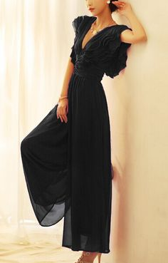 Deep V-neck Chiffon Jumsuit
