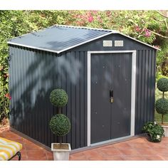 108 Store More Anthracite Metal Shed - All For Garden Tin Shed, Metal Shed, Pool Shed, Backyard Sheds, Garden Sheds, Herb Garden, Vegetable Garden, Shed Organization, Shed Storage