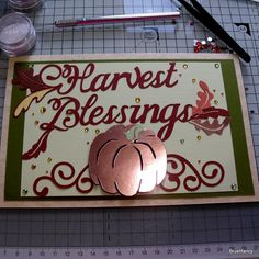 3D Thanksgiving Harvest Card Multi Layered with Foil cardstock and Jewels Vintage and Modern Inspired by BrushFancy on Etsy