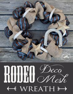 Rodeo Deco Mesh Wreath Rodeo Burlap and Deco Mesh Wreath