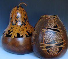 """Both these gourds are headed to AZ. The oak leaf one is about 24"""" high."""