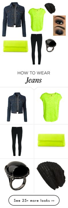 """""""Cool fun outfit, Neon Top,black jeggings, blue jeans jacket,and accessories"""" by im-karla-with-a-k on Polyvore featuring H&M, LE3NO, Nancy Gonzalez, J Brand, Sharra Pagano and King & Fifth Supply Co."""