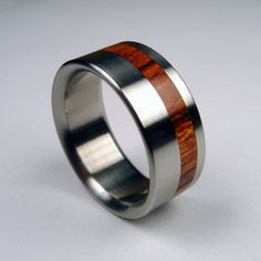 Titanium with solid wood inlay.