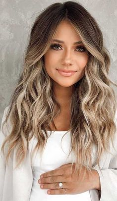 Balayage Hair Brunette With Blonde, Blonde Hair With Highlights, Brown Blonde Hair, Hair Color Balayage, Brown Hair With Blonde Balayage, Light Brunette Hair, Balayage Straight, Baylage, Black Hair