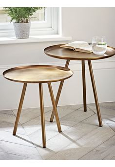 NEW Set of Two Burnished Gold Tables - Furniture