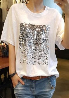 White Patchwork Sequin Round Neck Casual Going out T-Shirt - T-Shirts - Tops