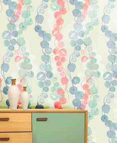 Laura_Olivia_Beads_Sky_wallpaper_visual Dresser detail with aqua paint and contrasting wood pulls