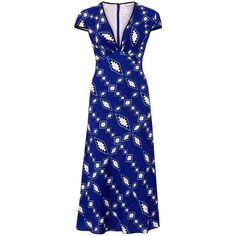 Libelula - Tamara Dress - Zig Zag Diamond Print - Blue (5,185 EGP) ❤ liked on Polyvore featuring dresses, print dresses, summer print dresses, pattern dress, blue summer dress and blue dress