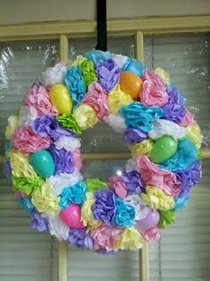 Cute Easter Wreath from tissue paper
