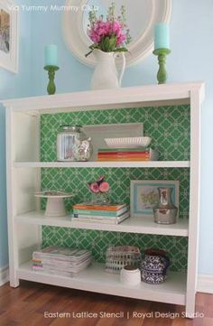 belle maison: DIY Bookcase Makeover using fun wallpaper on bookshelves. Home Confort, Furniture Makeover, Diy Furniture, Upcycled Furniture, Furniture Stencil, Modern Furniture, Furniture Stores, White Furniture, Furniture Plans