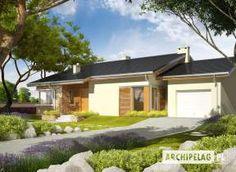 Eris II (wersja C) - projekt domu - Archipelag Bungalow House Plans, Bungalow House Design, Modern House Plans, Modern House Design, Home Design Plans, Design Case, My House, Pergola, Sweet Home