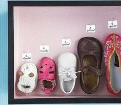Kid growth shadowbox using shoes. Would also be cute with socks.