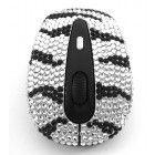 2 Pack/Set Silver and Black Zebra Crystal Rhinestone USB Computer Keyboard + Wireless Mouse