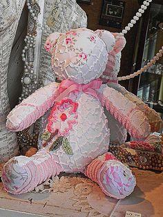 Handmade Chennile Bear Shabby Chic Vintage by cottagerose4me, $29.95