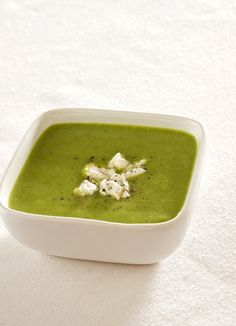 Broccoli Soup with Creamy Goat Cheese: You just cook broccoli in broth (chicken they say, but veg. would work). Whirl it up w/ some goat cheese, saving some goat cheese for garnish. Bet it's great!