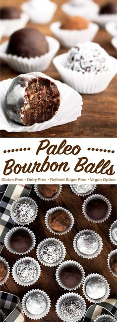 Classic bourbon balls made paleo! These no-bake cookies are free from refined su… Classic bourbon balls made paleo! These no-bake cookies are free from refined sugar, gluten free, and dairy free. Great as a Christmas cookie or for any time of year! Paleo Cookies, Gluten Free Cookies, No Bake Cookies, Gluten Free Desserts, Keto Desserts, Paleo Sweets, Paleo Dessert, Cookie Exchange, Best Gluten Free Recipes