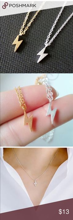 Thunder symbol necklace Cute stainless steel gold plated thunder necklace very trendy dainty Brand New Jewelry Necklaces