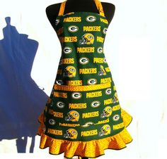 Hmmm... who'd like this one? Marcy, Dana, or Judy? Green Bay Packers Full Apron Hostess Style with by ElsiesFlat, $36.00