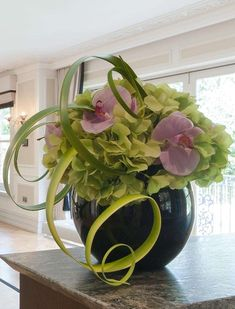 Hydrangea and Orchids in Black Goldfish Bowl | RTfact | Artificial Silk Flowers