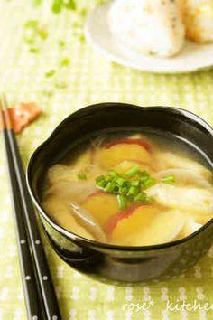 *サツマイモのお味噌汁*の画像 Miso Soup, Japanese Food, Thai Red Curry, Cooking, Ethnic Recipes, Foods, Yahoo, Board, Kitchen