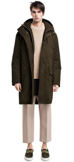 Montreal Green parka inspired by technical mountaineering outerwear #AcneStudios #menswear #PreFall2014