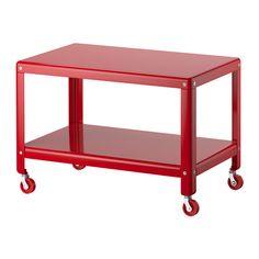 IKEA PS 2012. Sohvapöytä, punainen. Metallic table with wheels. 39 € (2015).