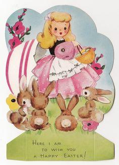 Vintage Greeting Card Unused Easter Die Cut Girl Rabbits A Meri Card Mechanical   eBay