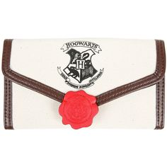 WB Harry Potter Hogwarts Letter Flap Wallet ($13) ❤ liked on Polyvore featuring bags, wallets, multi, white bag, warner bros., flap wallet, initial bags and white wallet