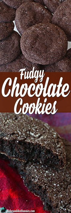 Chocolate cookies are one of those joys in life that I can't live without. …and these fudgy chocolate cookies are the epitome of that joy! These cookies are soo Köstliche Desserts, Delicious Desserts, Dessert Recipes, Yummy Food, Crinkle Cookies, Yummy Cookies, Cupcake Cookies, Cupcakes, Baking Recipes