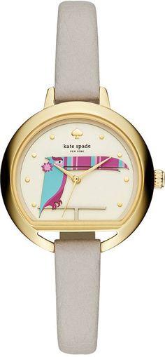 kate spade new york Women's Clocktower Gray Leather Strap Watch 34mm