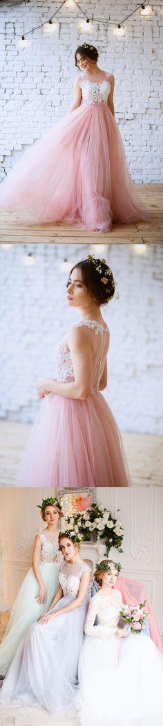lace illusion neckline long a-line/princess tulle bridesmaid dress