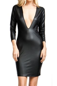 Black Long Sleeve PU V-neck Bodycon Dress