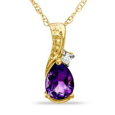 Pear-Shaped Amethyst and Diamond Accent Teardrop Pendant in 10K Gold - View All Necklaces - Zales
