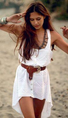 Belted boho dress