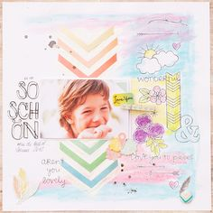 layout made during workshop with Wilna Furstenberg at SBW Event 2013 using gelatos and molding paste for the background I scrapbooking layout I mojosanti I Sandra Dietrich I #papercraft #scrapbook #layout