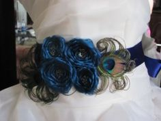 Add a touch of peacock to your wedding dress with this fabulous bridal sash