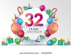 32nd years Anniversary Celebration Design with balloons and gift box, Colorful design elements for banner and invitation card.